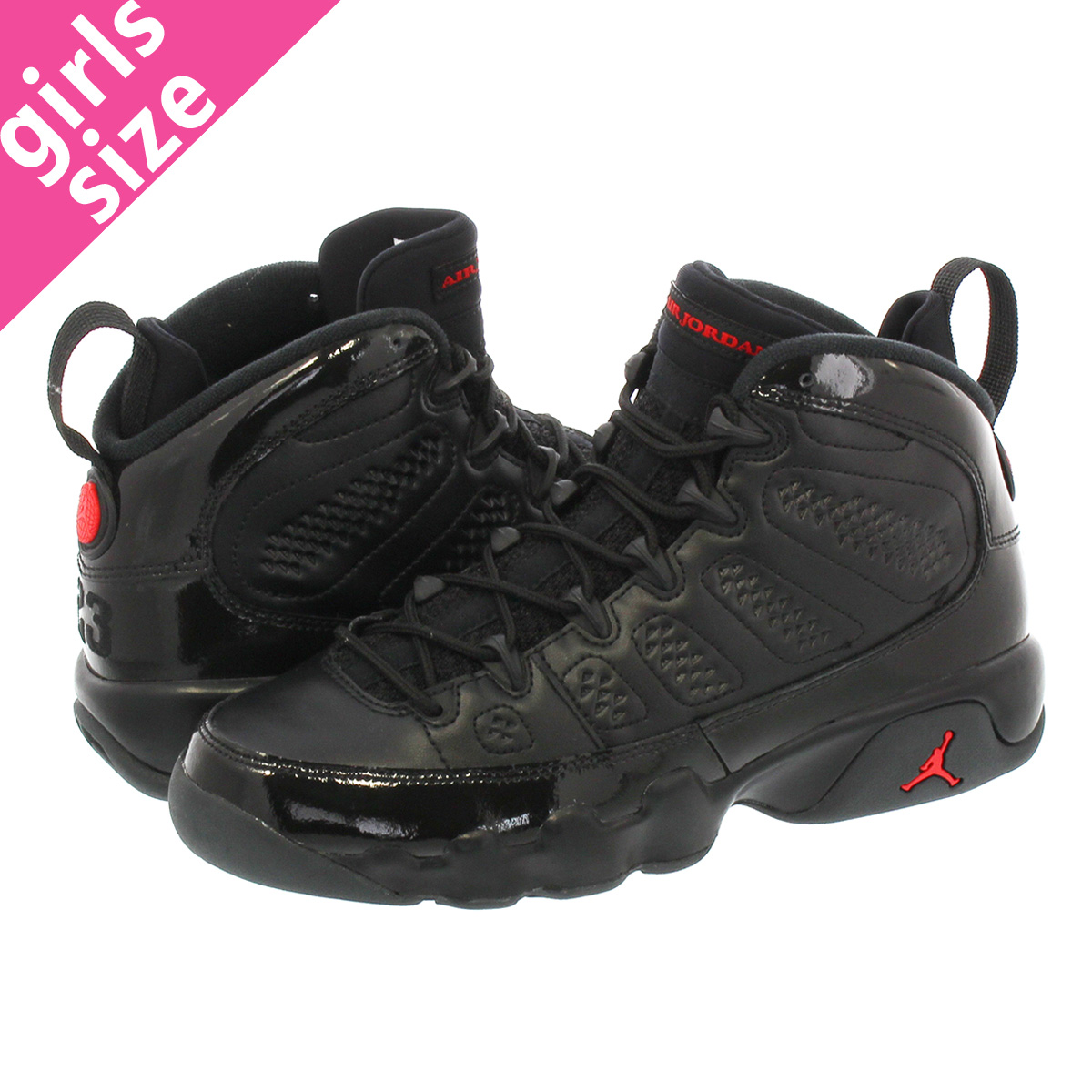 more photos a020f c703b NIKE AIR JORDAN 9 RETRO BG Nike Air Jordan 9 nostalgic BG BLACK UNIVERSITY  RED ...