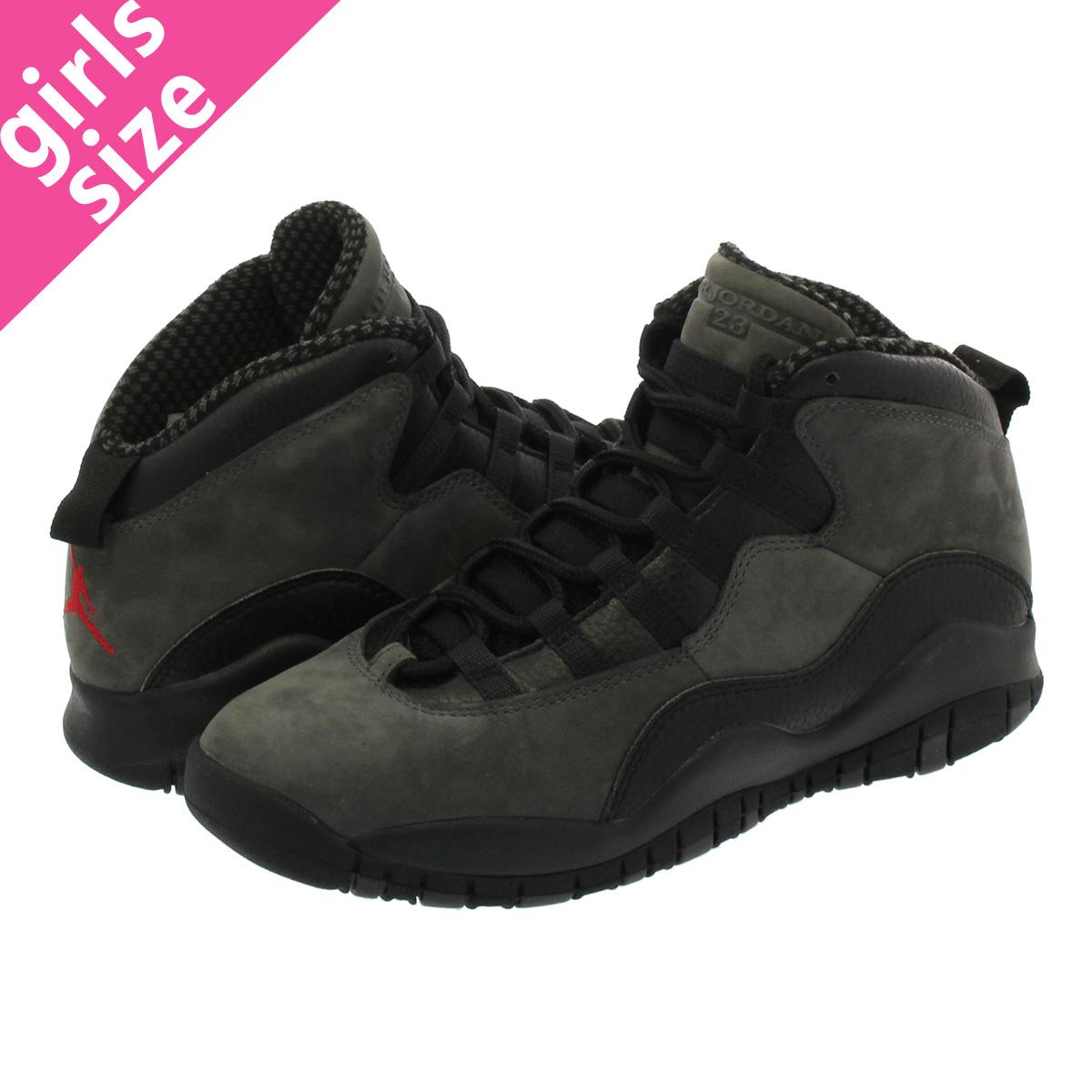 newest e2386 97efe NIKE AIR JORDAN 10 RETRO BG Nike Air Jordan 10 nostalgic BG DARK  SHADOW TRUE RED BLACK 310,806-002
