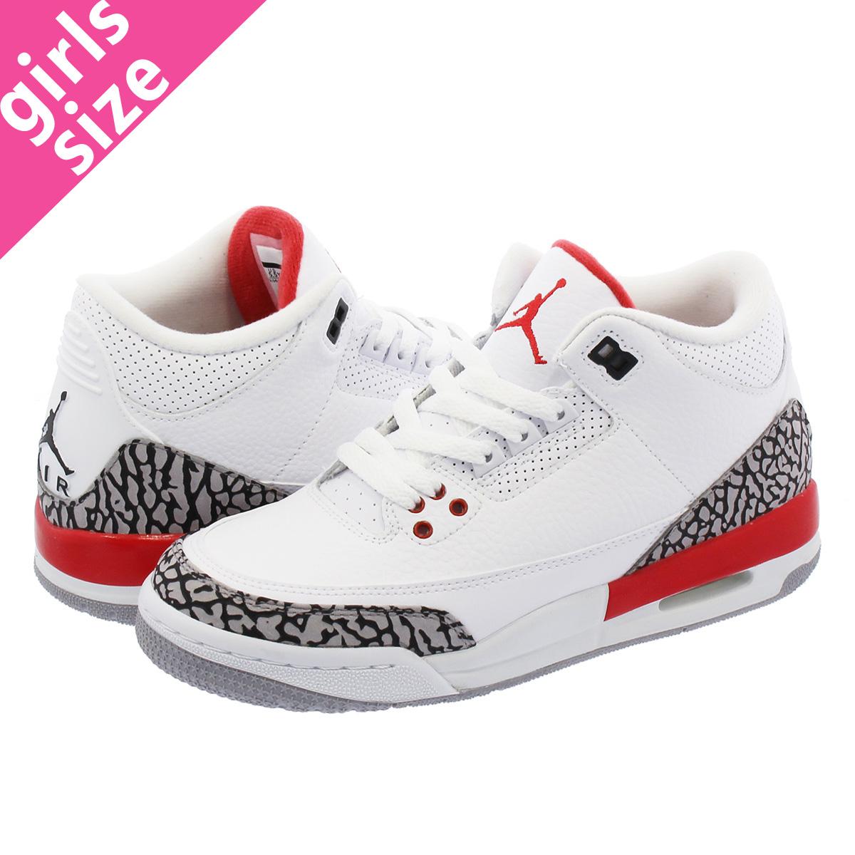 NIKE AIR JORDAN 3 RETRO BG Nike Air Jordan 3 nostalgic BG WHITECEMENT GREYFIRE RED 398,614 116