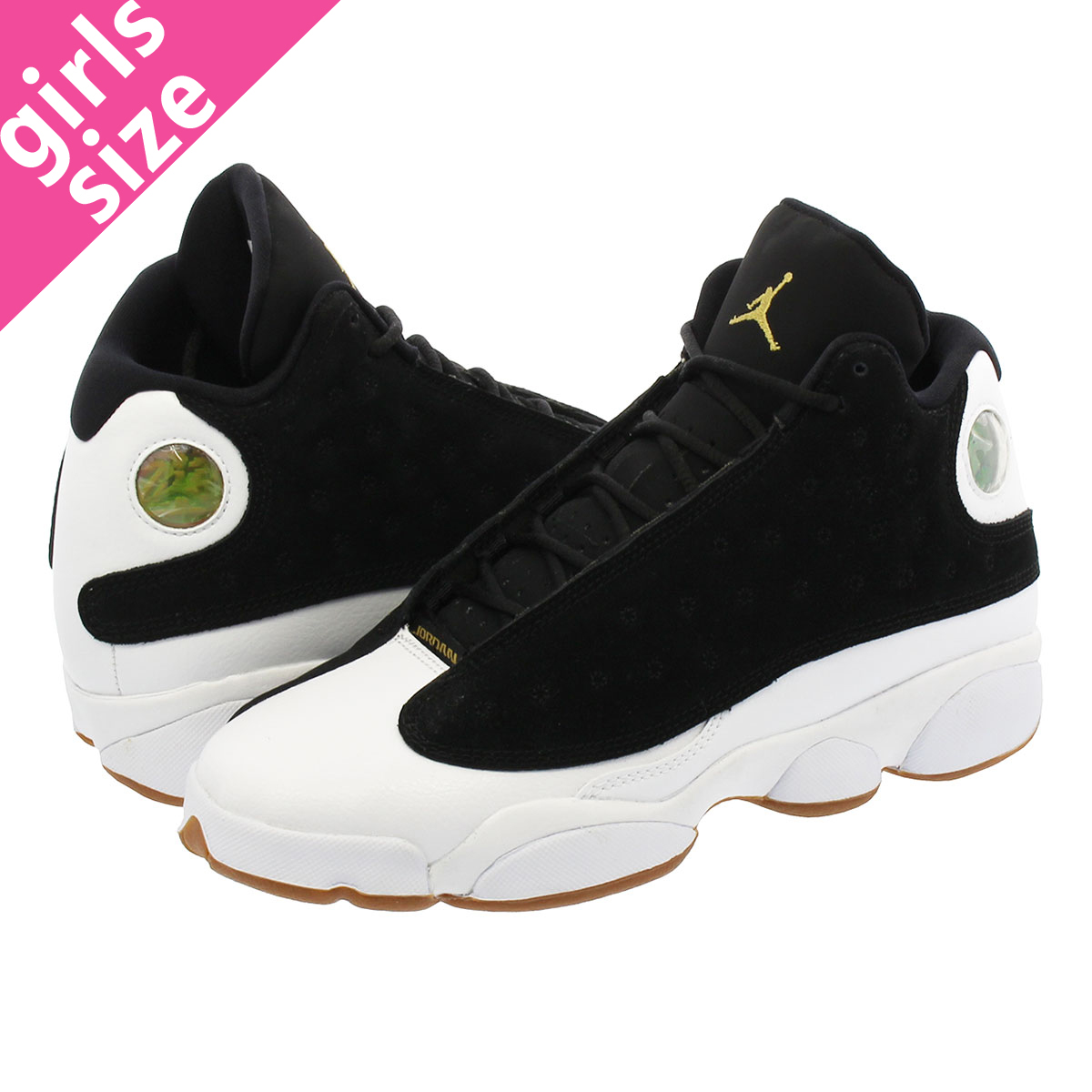 2afb56bd76d7 NIKE AIR JORDAN 13 RETRO GG Nike Air Jordan 13 nostalgic GG BLACK METALLIC  GOLD WHITE GUM MED BROWN