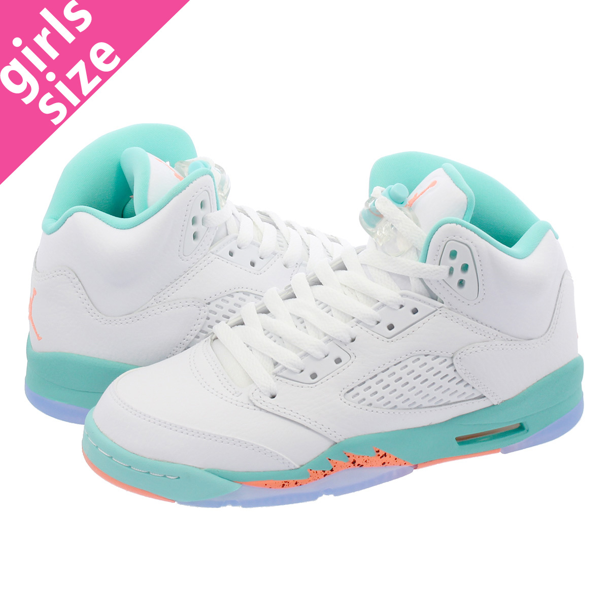 competitive price 60f10 3fe60 NIKE AIR JORDAN 5 RETRO GG Nike air Jordan 5 nostalgic GG WHITE/CRIMSON  PULSE/LIGHT AQUA/BLACK