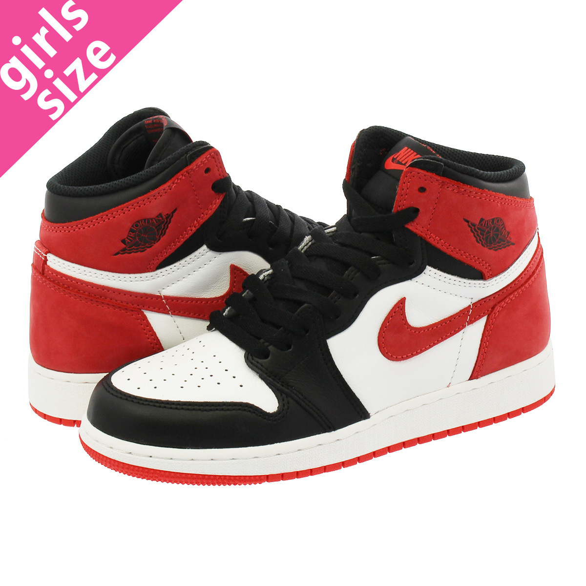the latest 879b4 fed71 NIKE AIR JORDAN 1 RETRO HIGH OG BG耐克空气乔丹1重新流行高OG BG SUMMIT  WHITE BLACK TRACK RED