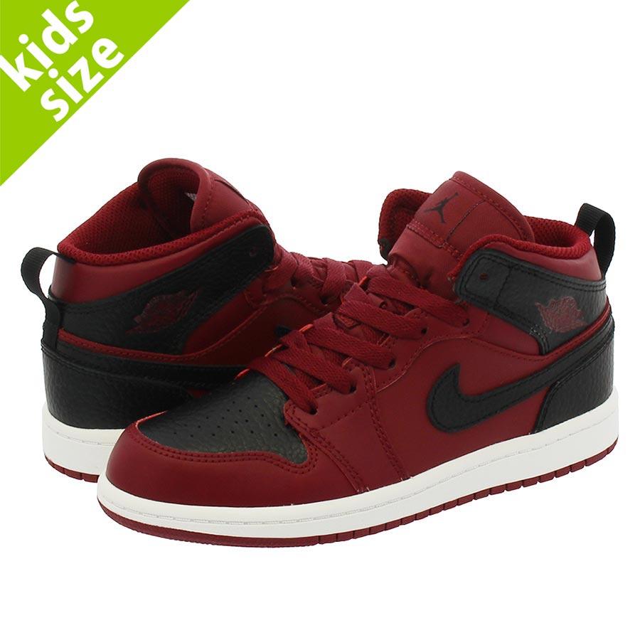 quality design aa2b6 5974d NIKE AIR JORDAN 1 MID PS Nike Air Jordan 1 mid PS TEAM RED BLACK SUMMIT  WHITE