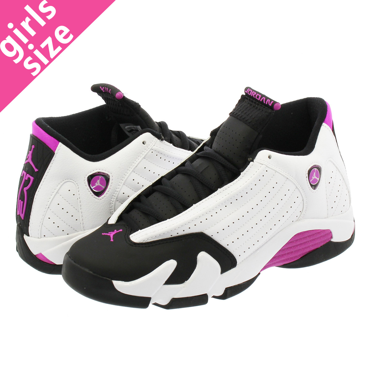 the latest 53bc4 65b8d NIKE AIR JORDAN 14 RETRO GS Nike Air Jordan 14 nostalgic GS WHITE/FUCHSIA  FLASH/BLACK 654,969-119