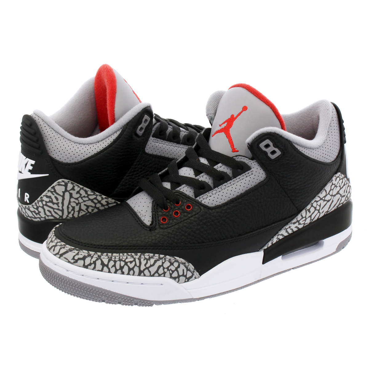 NIKE AIR JORDAN 3 RETRO OG Nike Air Jordan 3 nostalgic OG BLACK/FIRE RED/ CEMENT GREY/WHITE