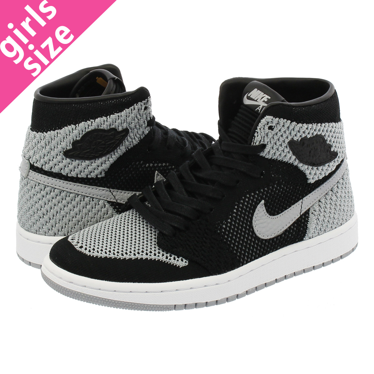 7f9dda4a33129 NIKE AIR JORDAN 1 RETRO HI FLYKNIT BG Nike Air Jordan 1 nostalgic high  fried food knit BG BLACK WOLF GREY WHITE