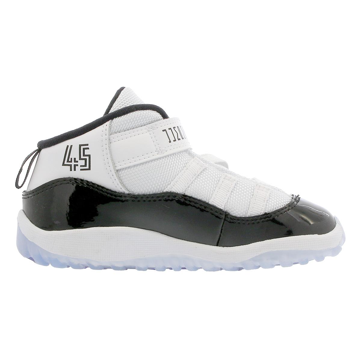 NIKE AIR JORDAN 11 RETRO BT Nike Air Jordan 11 nostalgic BT WHITE CONCORD BLACK  378 418636419