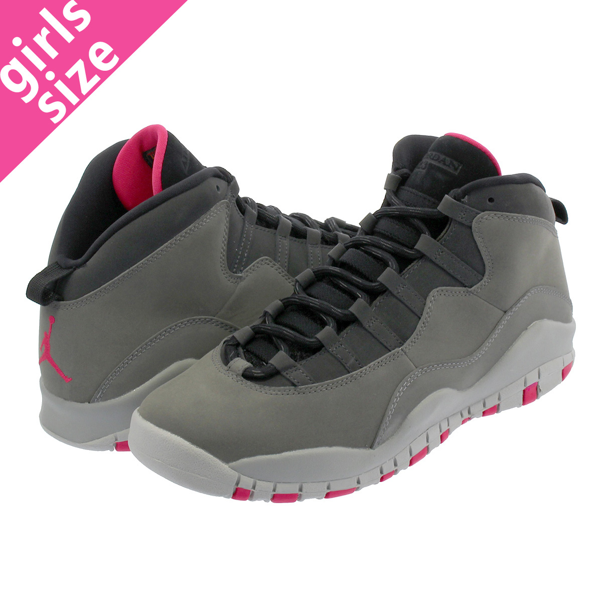 NIKE AIR JORDAN 10 RETRO GG Nike Air Jordan 10 nostalgic GG DARK SMOKE GREY RUSH  PINK BLACK IRON GREY 487 6a5a4d38d