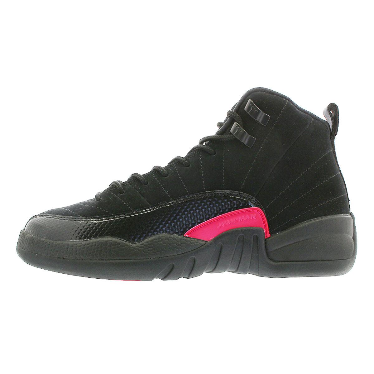 85d4a4ce42d7 NIKE AIR JORDAN 12 RETRO GG Nike Air Jordan 12 nostalgic GG BLACK DARK GREY  RUSH PINK 510
