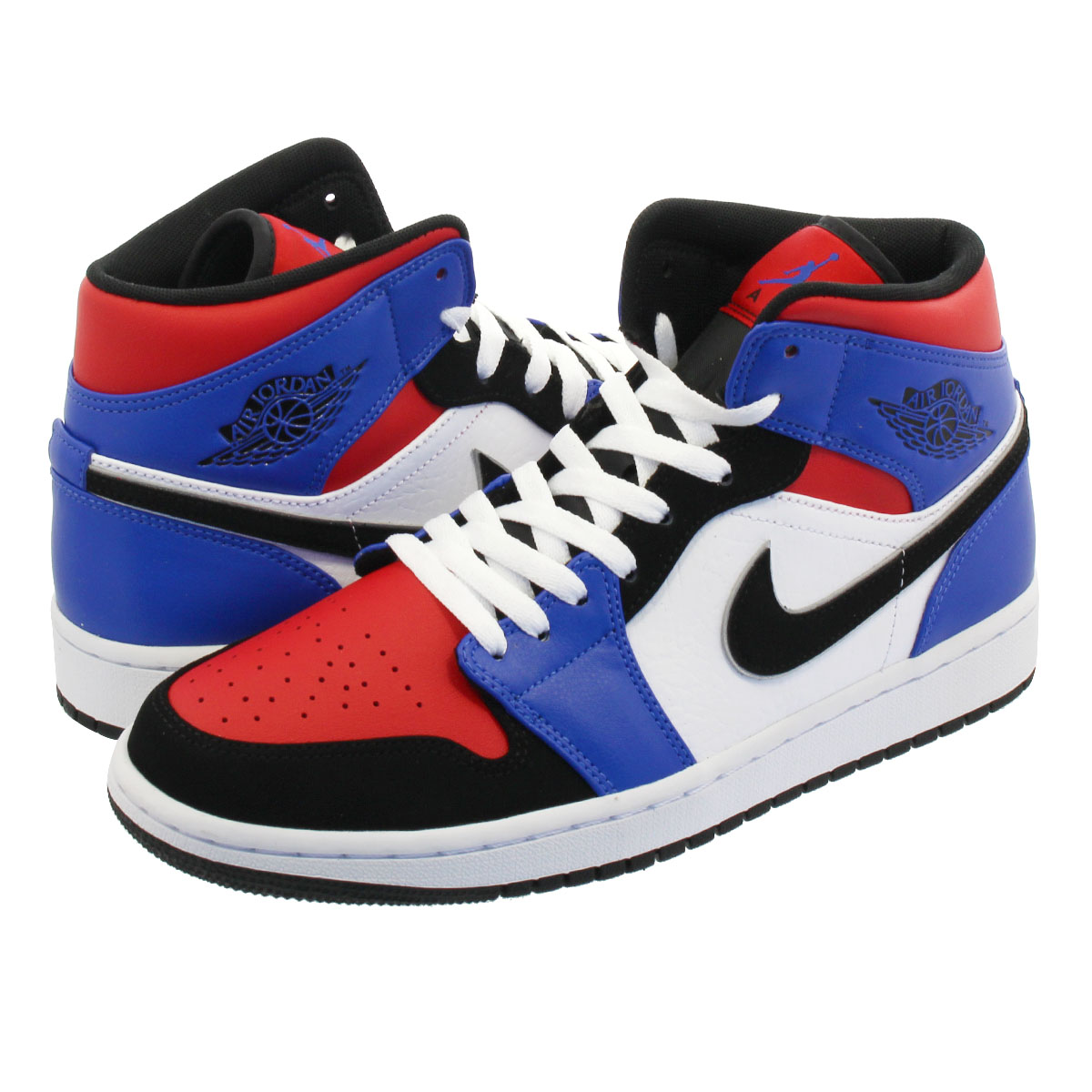 5438046b2c21fb NIKE AIR JORDAN 1 MID Nike Air Jordan 1 mid WHITE BLACK HYPER ROYAL UNIVERSITY  RED 554