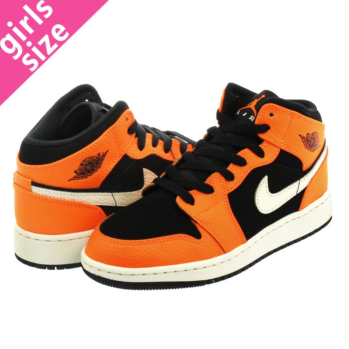 ec2c477767f NIKE AIR JORDAN 1 MID BG Nike Air Jordan 1 mid BG BLACK CONE LIGHT  BONE ORANGE 554