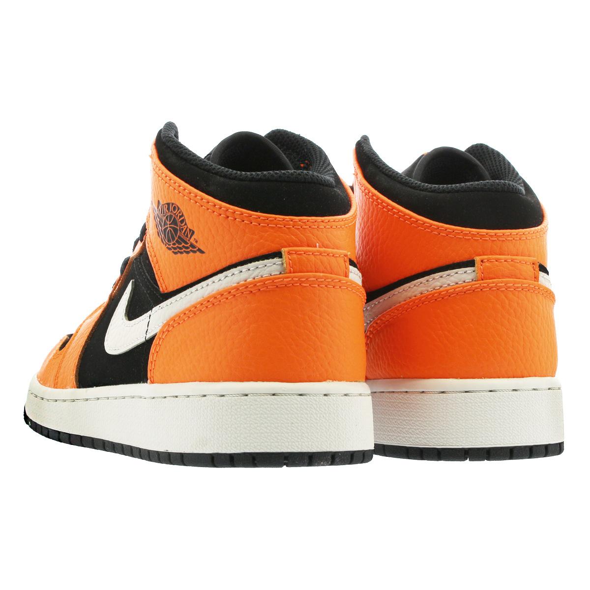 9d586b9a149 NIKE AIR JORDAN 1 MID BG Nike Air Jordan 1 mid BG BLACK CONE LIGHT BONE ORANGE  554