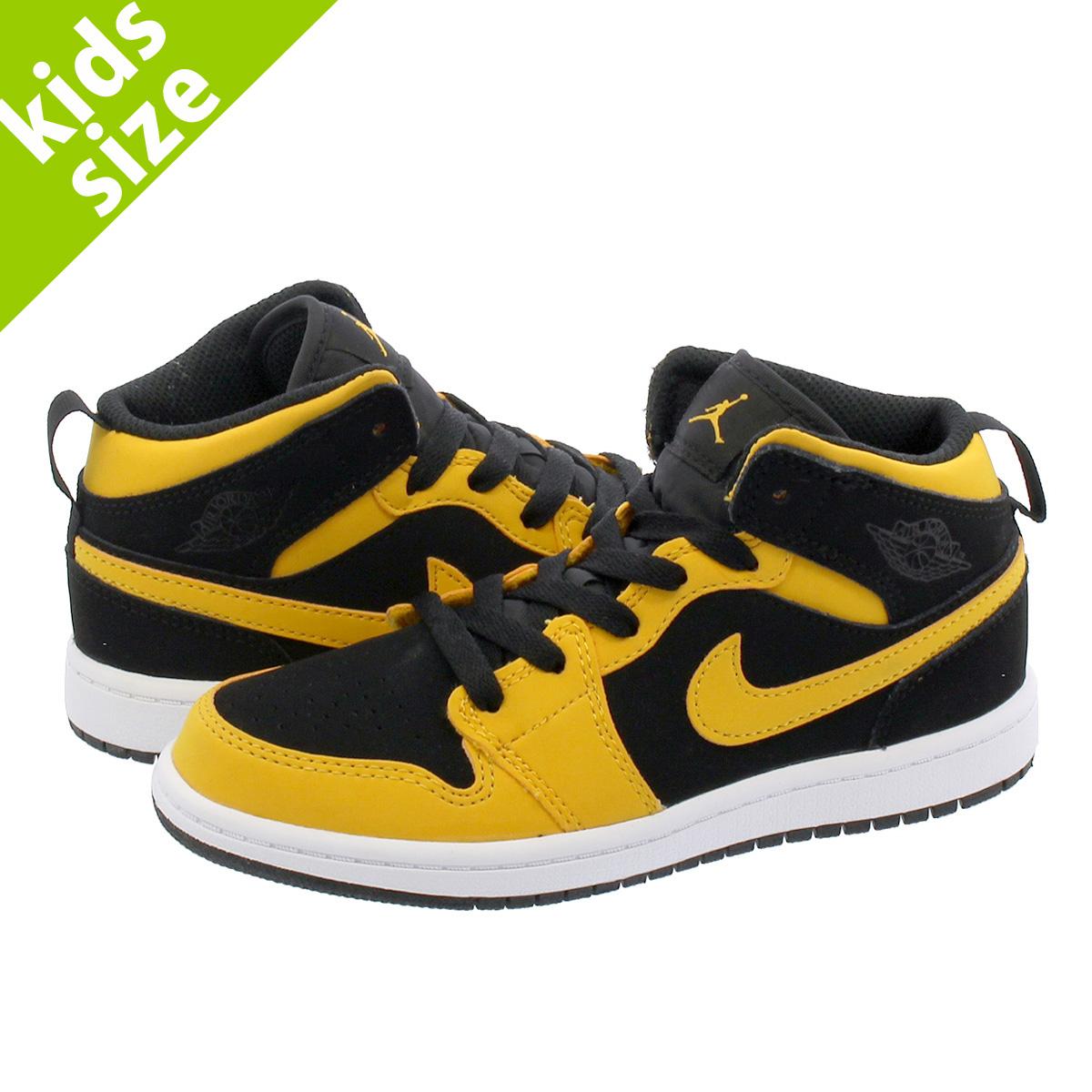 timeless design 5342d 98ae6 NIKE AIR JORDAN 1 MID PS Nike Air Jordan 1 mid PS BLACK/YELLOW 640,734-071