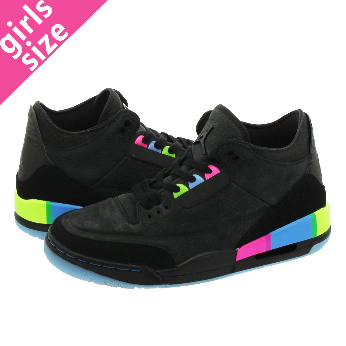 5621760d9ca74a NIKE AIR JORDAN 3 RETRO BG Nike Air Jordan 3 nostalgic BG BLACK ELECTRIC  GREEN at9194-001