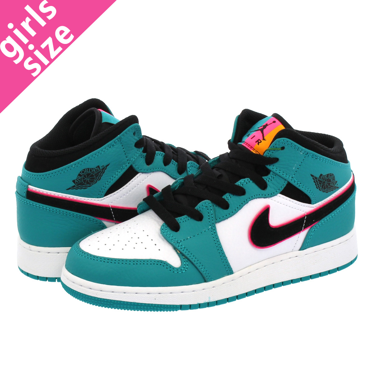 f1b9c7e03a8 LOWTEX BIG-SMALL SHOP  NIKE AIR JORDAN 1 MID BG Nike Air Jordan 1 mid BG  TURBO GREEN BLACK HYPER PINK ORANGE PEEL bq6931-306