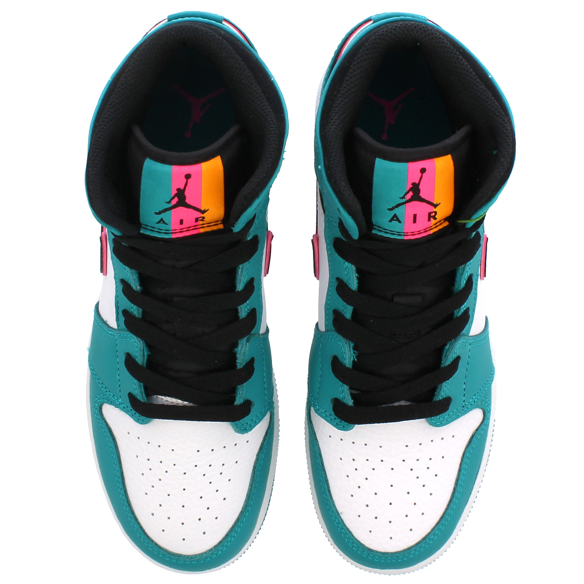 7b16c4895d8 NIKE AIR JORDAN 1 MID BG Nike Air Jordan 1 mid BG TURBO GREEN BLACK HYPER  PINK ORANGE PEEL bq6931-306