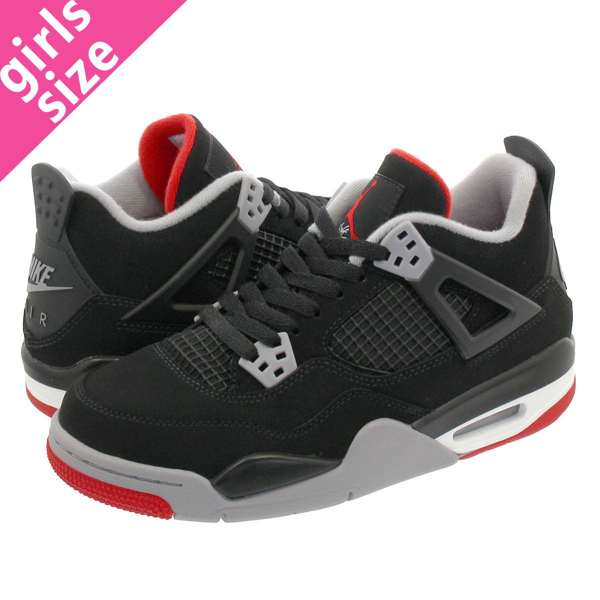 online store bac38 ecdf6 NIKE AIR JORDAN 4 RETRO BG Nike air Jordan 4 nostalgic BG BLACK/CEMENT  GREY/SUMMIT WHITE/FIRE RED 408,452-060
