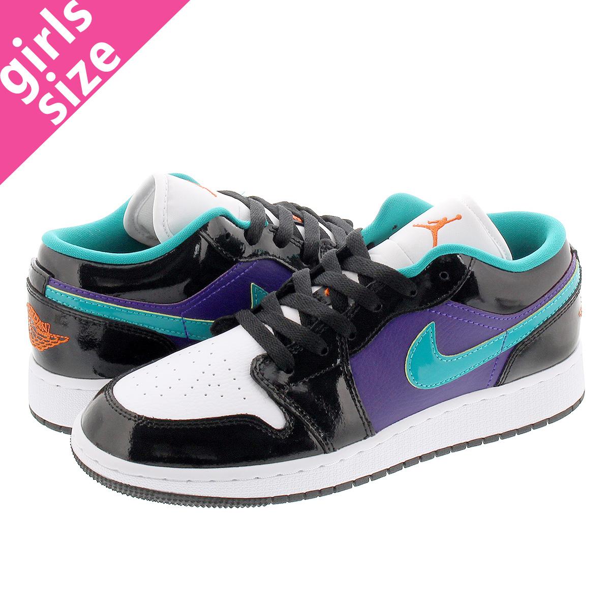 NIKE AIR JORDAN 1 LOW GS Nike Air Jordan 1 low GS BLACKWHITECOURT PURPLETURBO GREEN 553,560 035