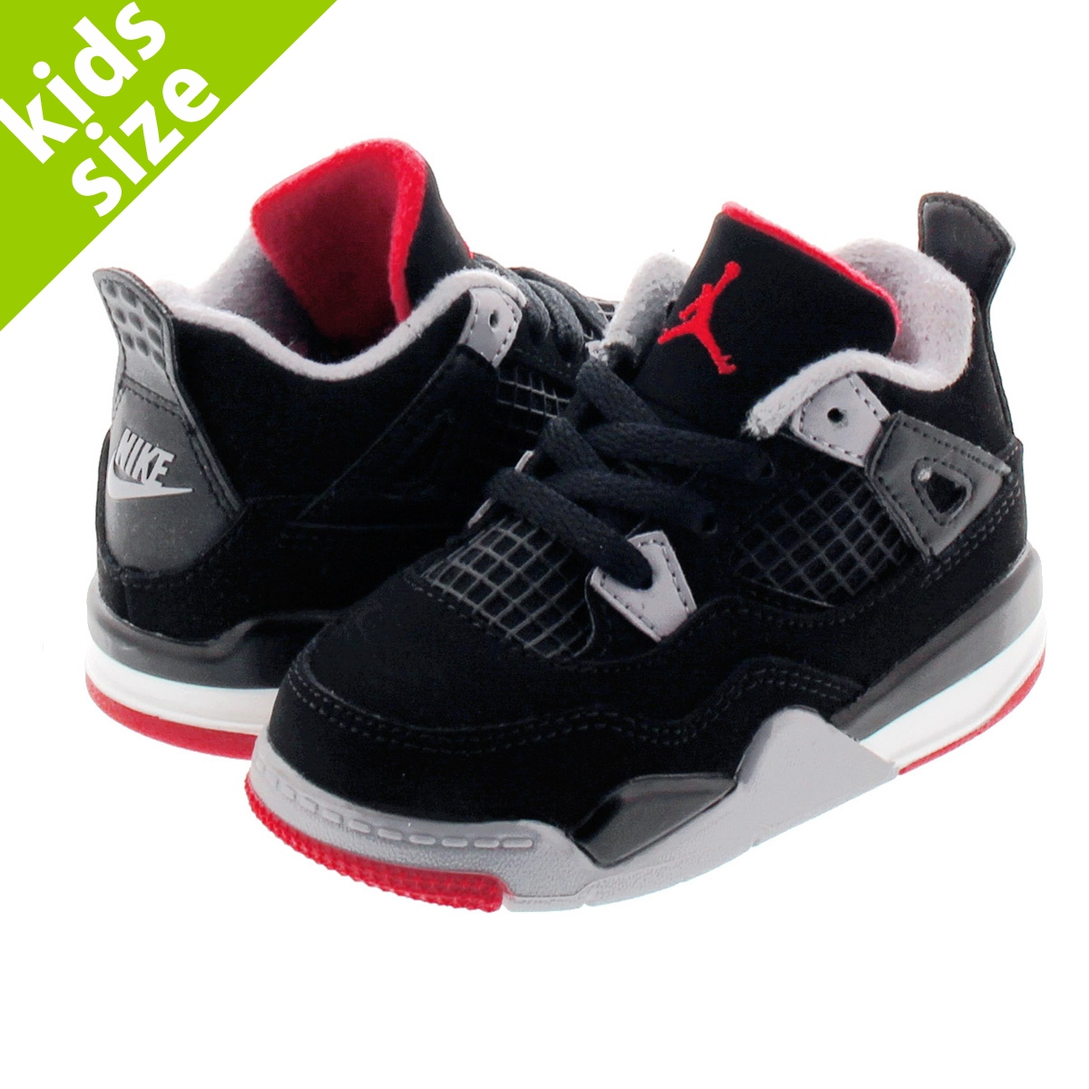 【キッズサイズ】【16.0~22.0cm】 NIKE AIR JORDAN 4 RETRO TD ナイキ エア ジョーダン 4 レトロ TD BLACK/FIRE RED/CEMENT GREY/SUMMIT WHITE bq7670-060
