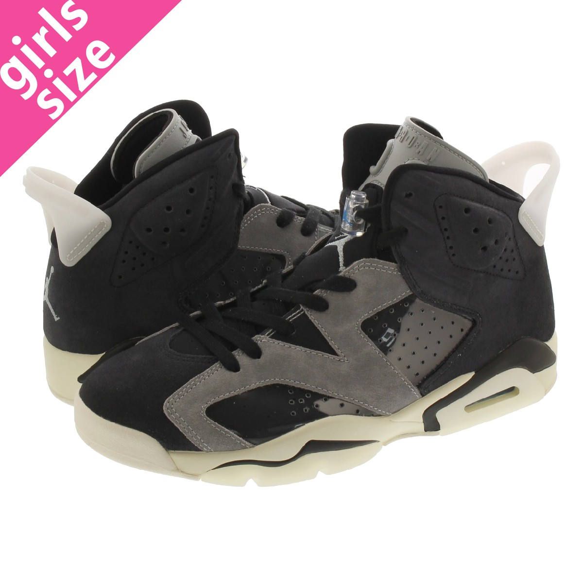 NIKE WMNS AIR JORDAN 6 RETRO 【TECH CHROME】 ナイキ ウィメンズ エア ジョーダン 6 レトロ BLACK/LIGHT SMOKE GREY/SAIL/CHROME ck6635-001