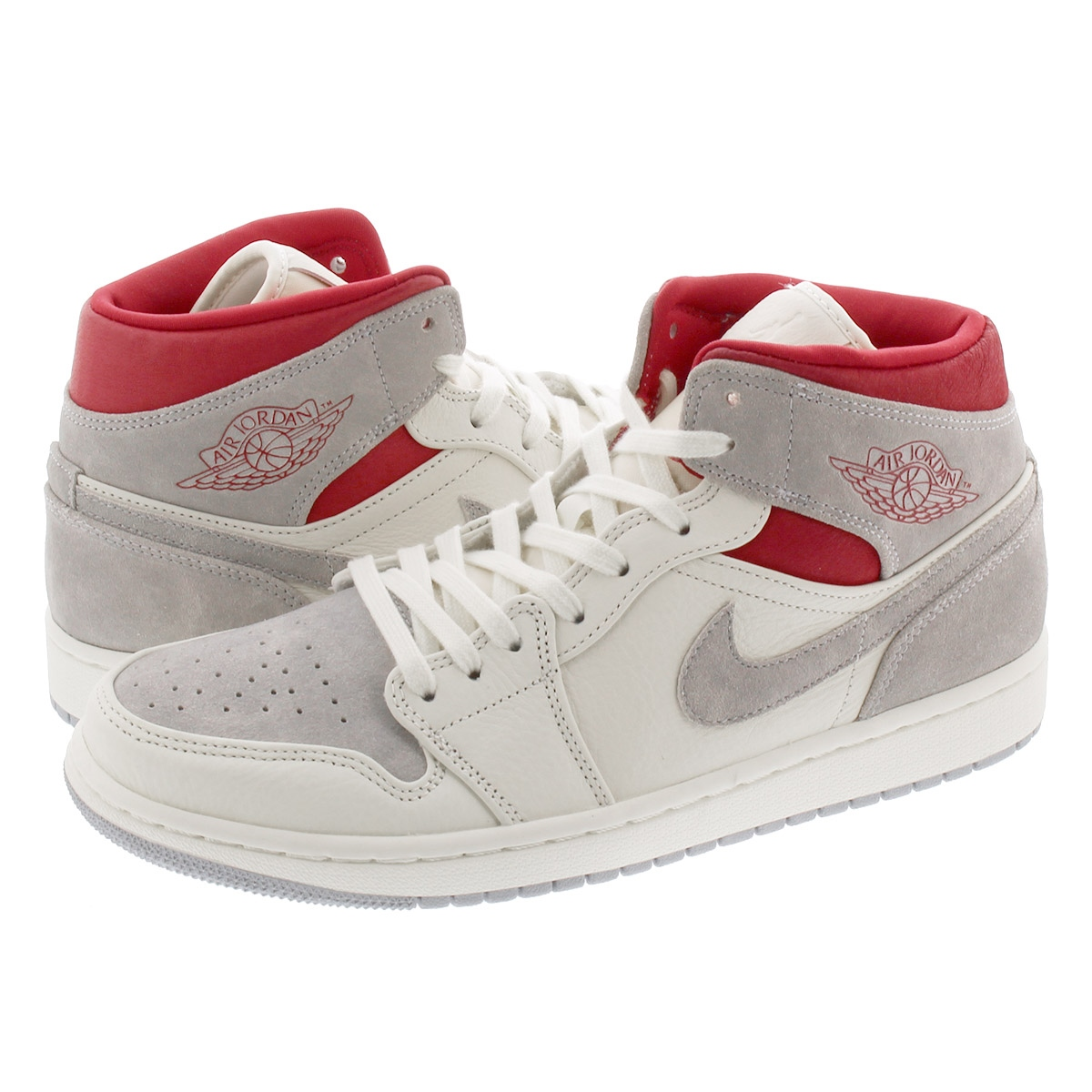 NIKE AIR JORDAN 1 MID PRM 【SNEAKERSNSTUFF】 ナイキ エア ジョーダン 1 ミッド プレミアム SAIL/WOLF GREY/GYM RED/WHITE ct3443-100
