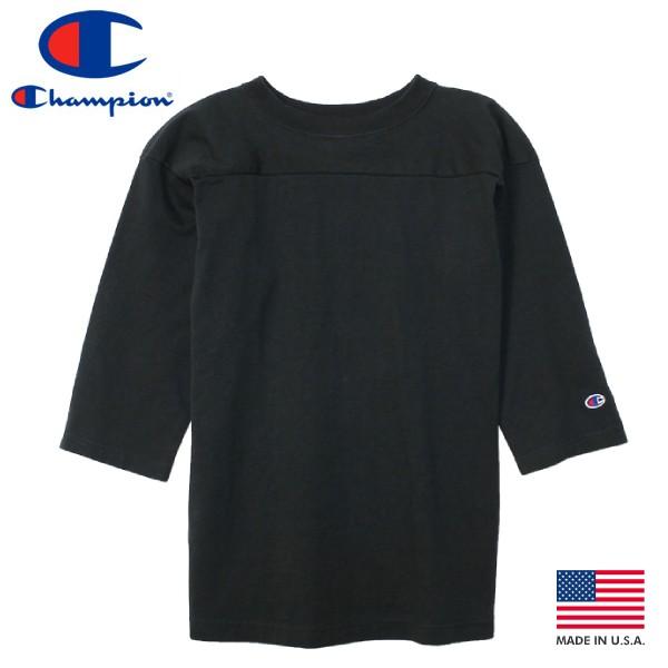 【毎日がお得!値下げプライス】 CHAMPION T-1011 3/4 SLEEVE FOOTBALL 【MADE IN U.S.A.】 チャンピオン T-1011 ラグラン 3/4 スリーブ フットボール BLACK