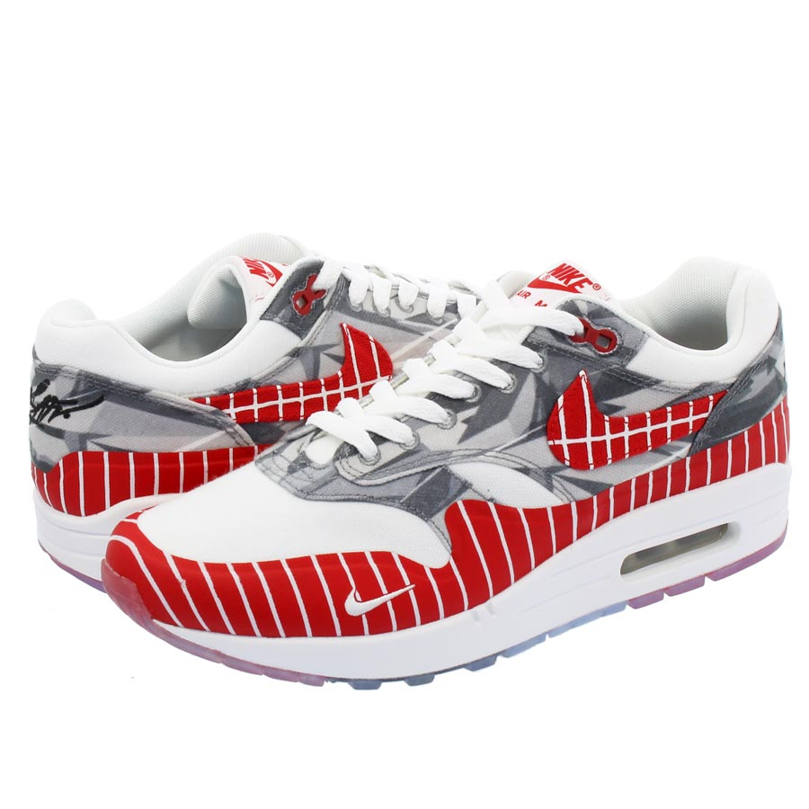 brand new 40cb2 d3c52 NIKE AIR MAX 1 LHM Kie Ney AMAX 1 Latino heritage Manns WHITE UNIVERSITY RED