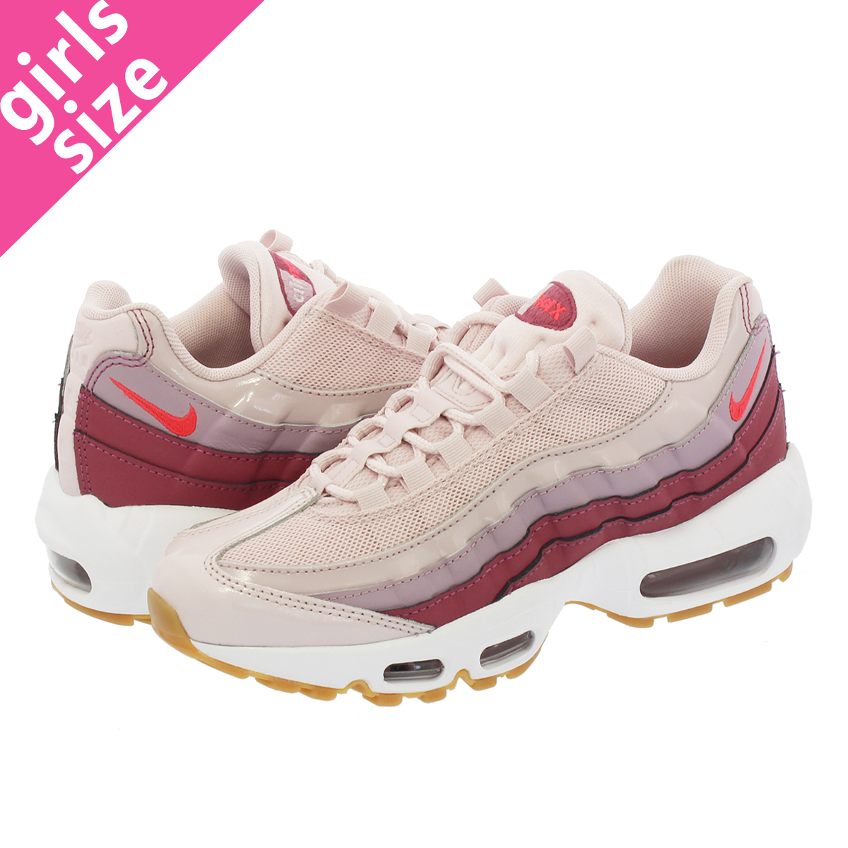 d36bbb561ef NIKE WMNS AIR MAX 95 Nike women Air Max 95 BARELY ROSE HOT PUNCH VINTAGE  WINE WHITE