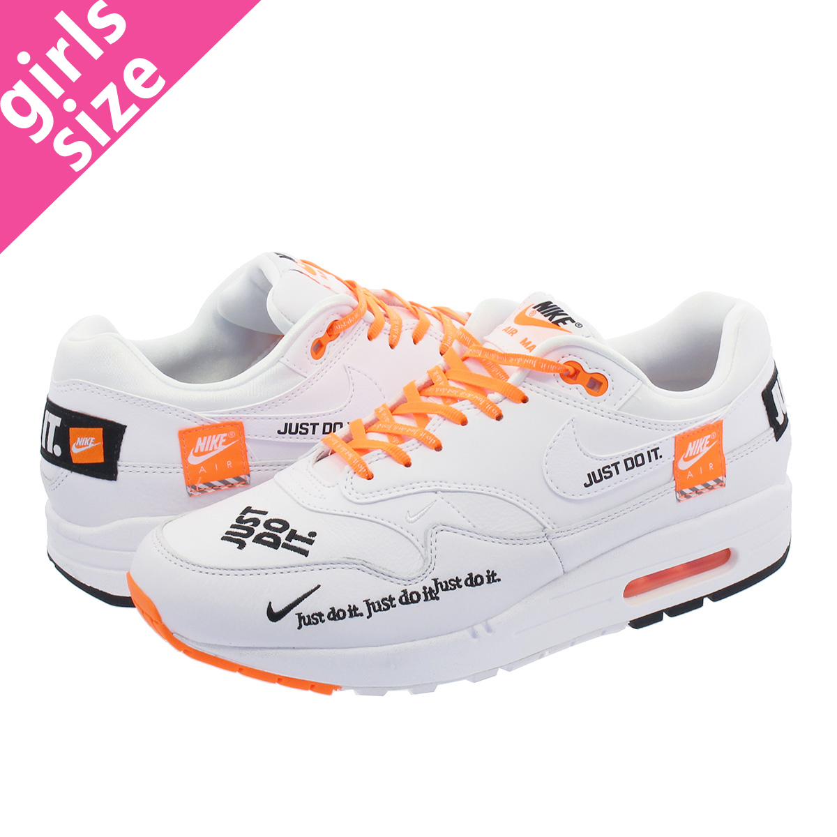 WMNS LOW SHOE AIR MAX 1 LX WHITE BLACK TOTAL ORANGE