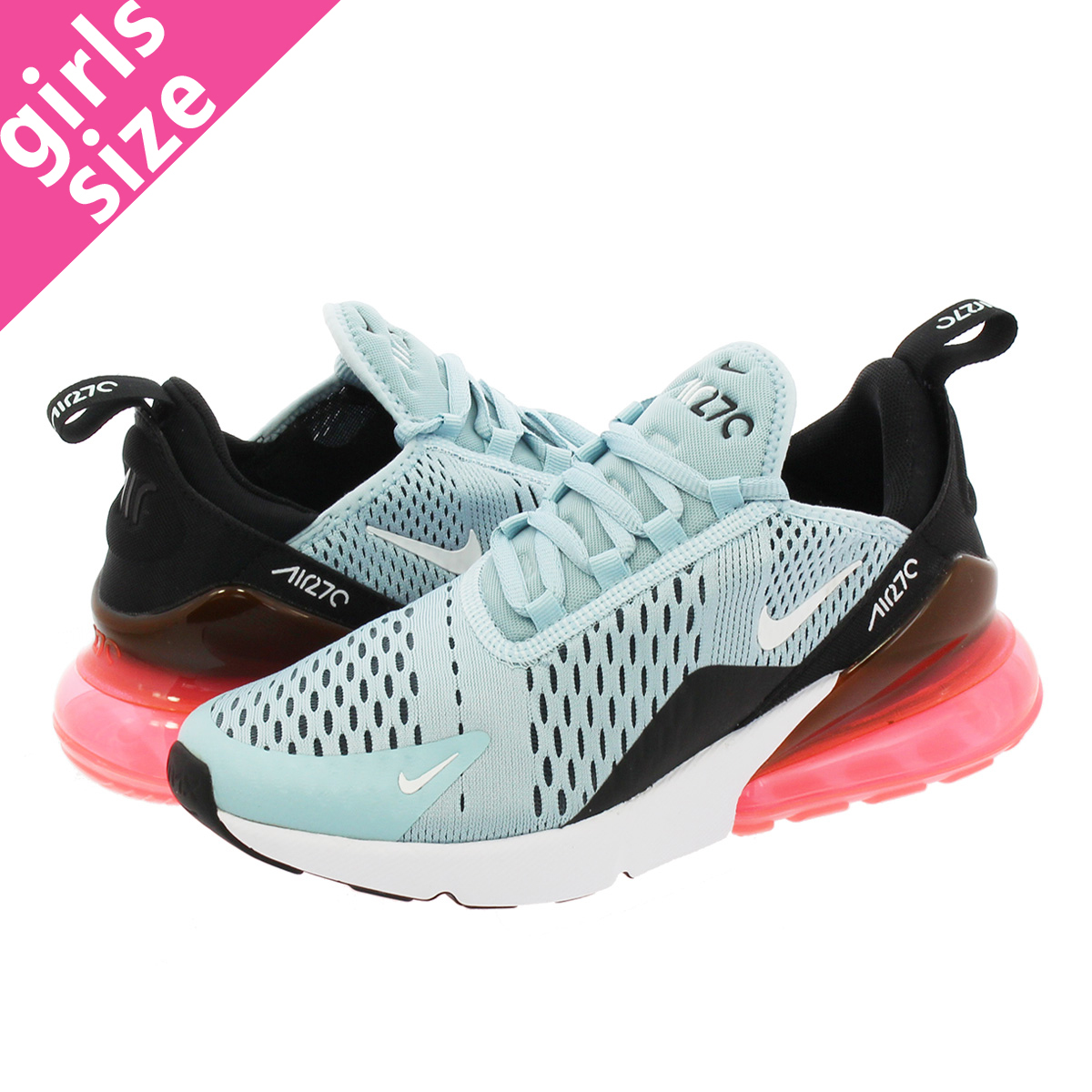 5b427f131a16 LOWTEX BIG-SMALL SHOP  NIKE WMNS AIR MAX 270 Nike women Air Max 270 OCEAN  BLISS WHITE BLACK HOT PUNCH ah6789-400