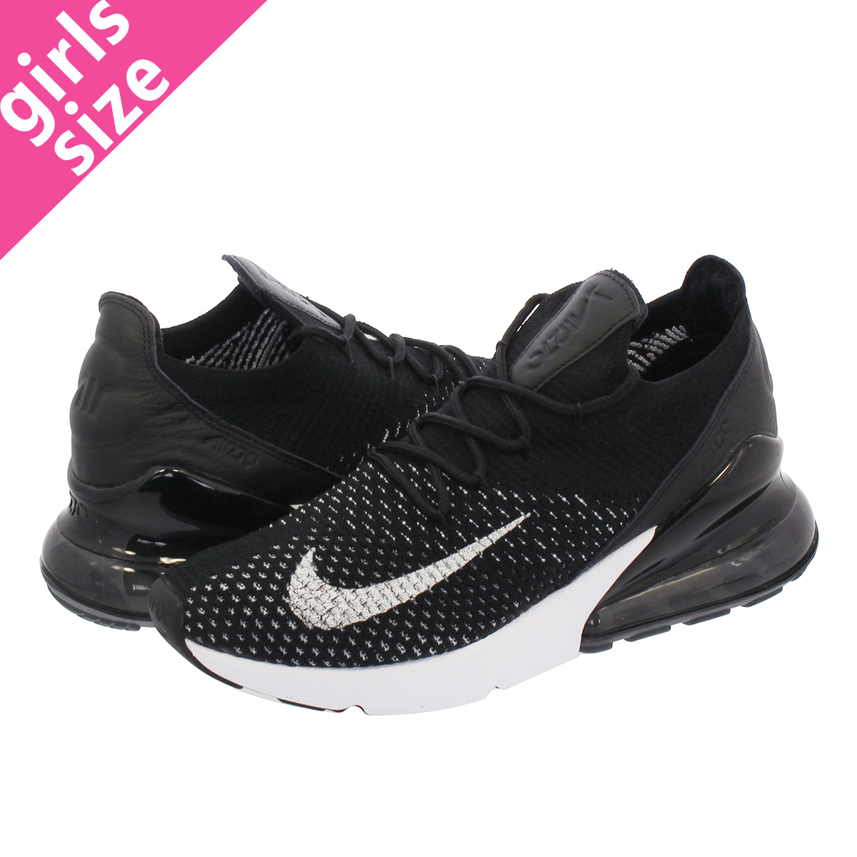 Nike Air Max 270 Flyknit Black White Womens AH6803 001  AH6803 001