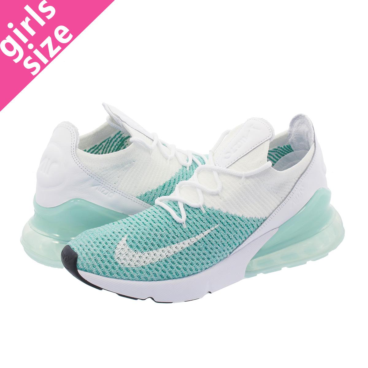 cheap for discount 45300 0e420 NIKE WMNS AIR MAX 270 FLYKNIT Nike women Air Max 270 fried food knit IGLOO  WHITE/CLEAR EMERLAD/BLACK ah6803-301