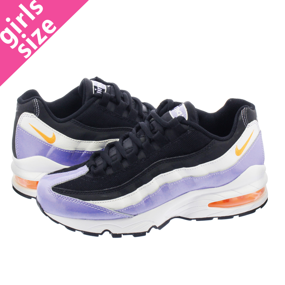 NIKE AIR MAX 95 GS Kie Ney AMAX 95 GS BLACK TWILIGHT PULSE WHITE TOTAL  ORANGE 310 3a3fcf29d