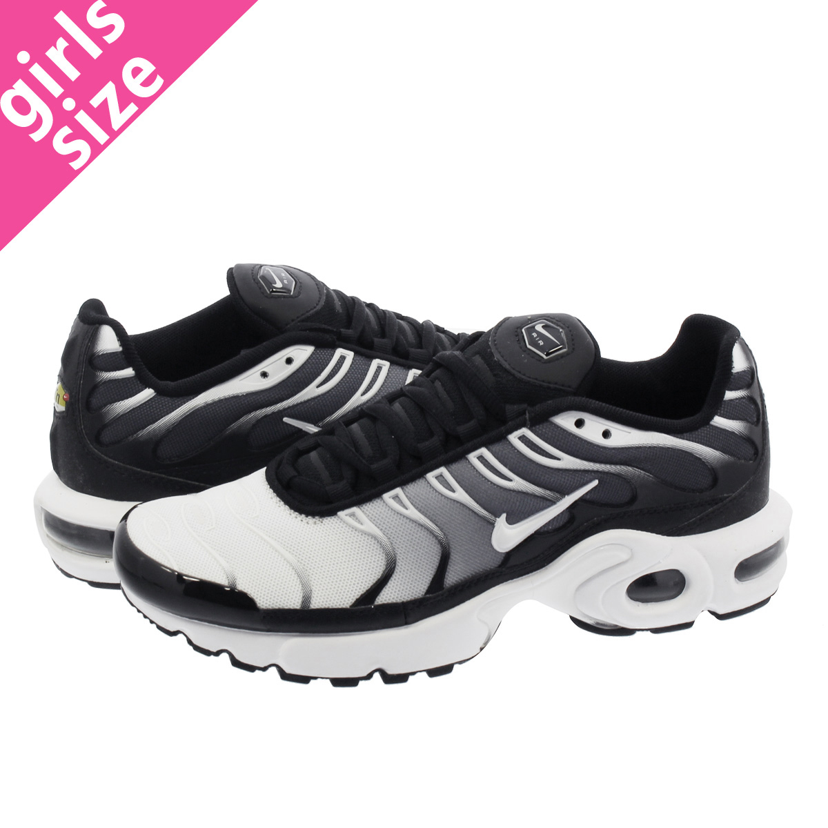 good out x huge selection of save off NIKE AIR MAX PLUS GS Kie Ney AMAX plus GS GREY/WHITE/BLACK 655,020-077