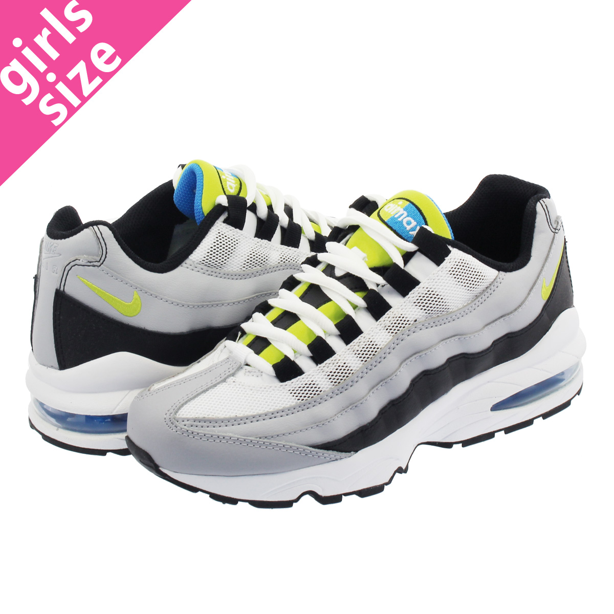 adc4be36ac2eee NIKE AIR MAX 95 GS Kie Ney AMAX 95 GS WOLF GREY CYBER BLACK PHOTO BLUE  905