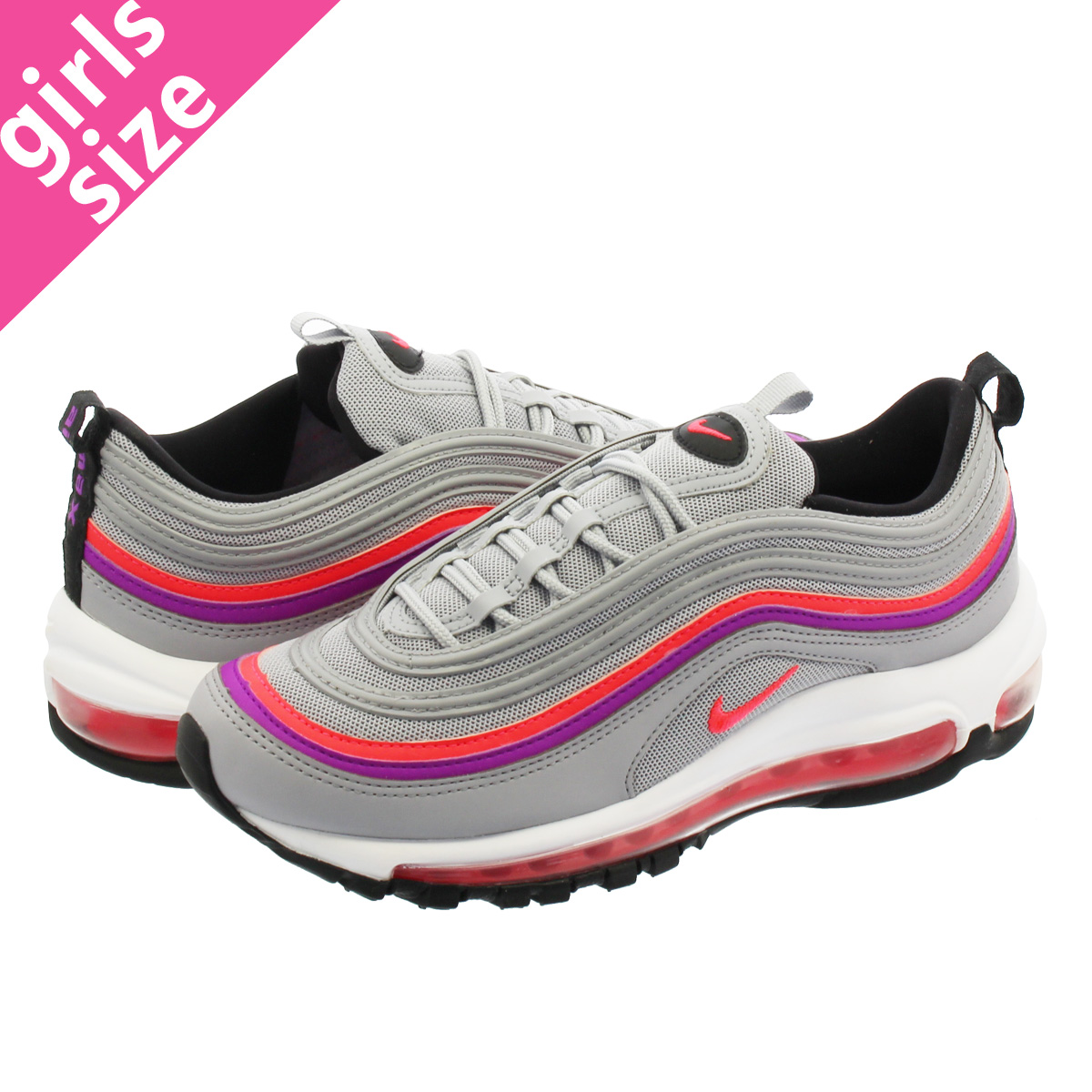 NIKE WMNS AIR MAX 97 Nike women Air Max 97 WOLF GREYVIVID PURPLEBLACKSOLAR RED 921,733 009