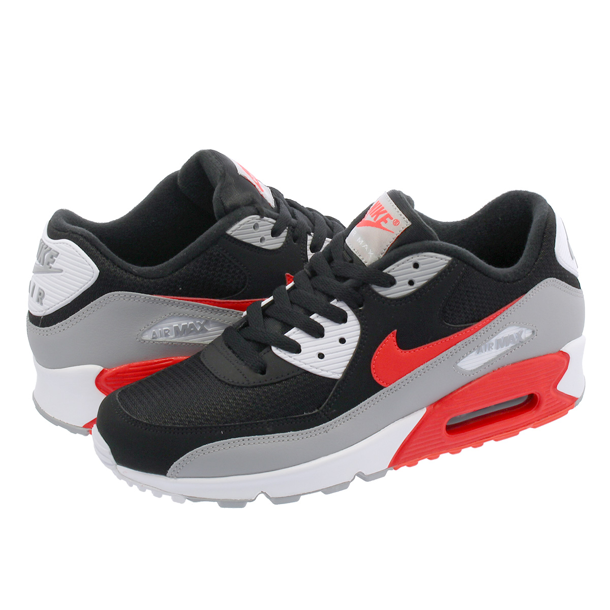the latest 0e4be 65646 NIKE AIR MAX 90 ESSENTIAL Kie Ney AMAX 90 essential BLACK WOLF GREY BRIGHT  CRIMSON aj1285-012