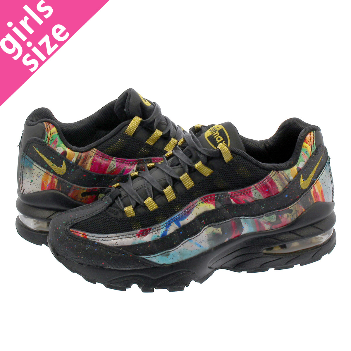 timeless design 5c8f7 b7a6d NIKE AIR MAX 95 GS Kie Ney AMAX 95 GS BLACK/METALLIC GOLD/COBALT BLAZE  at6158-001