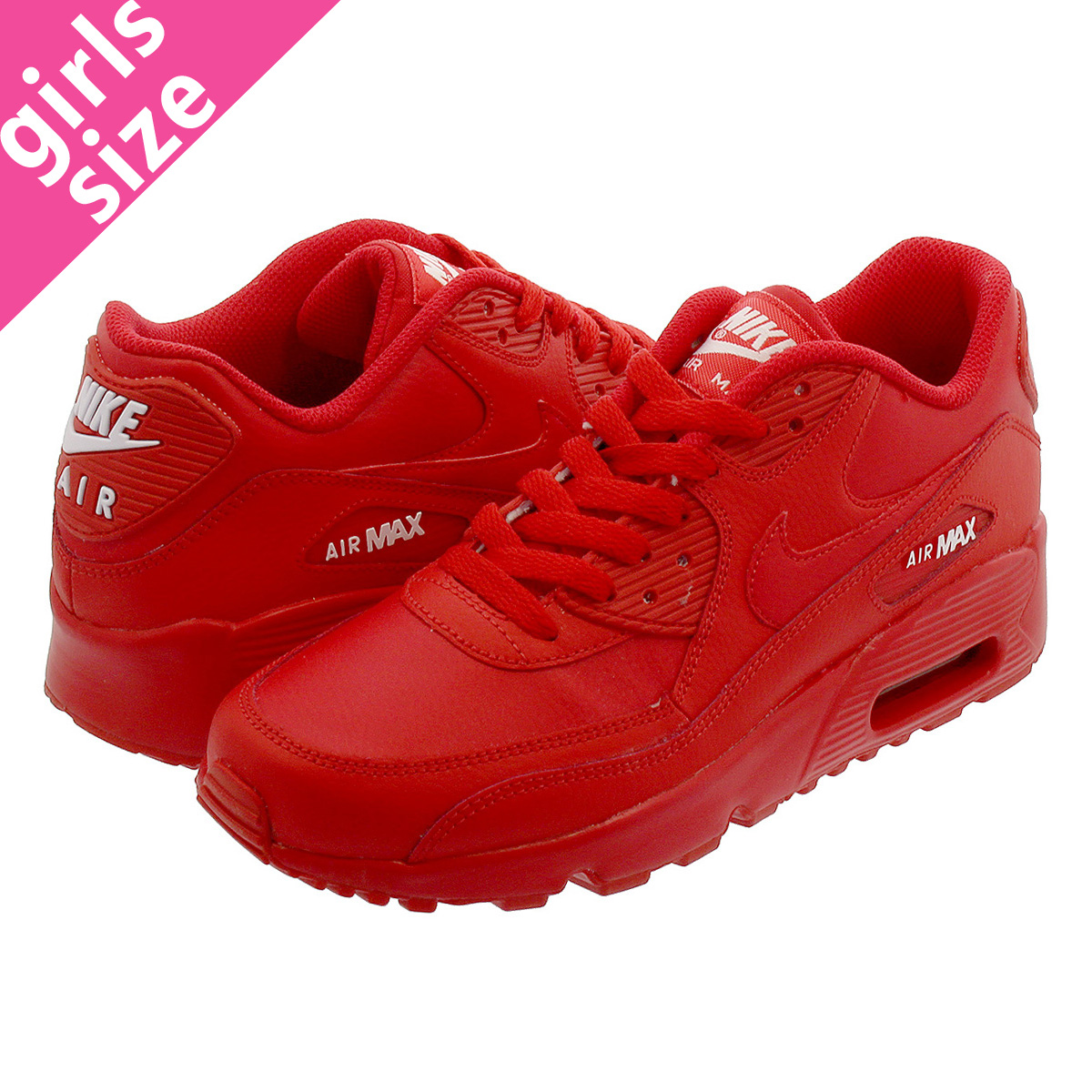 NIKE AIR MAX 90 LTR GS Kie Ney AMAX 90 leather GS UNIVERSITY RED 833,412 606