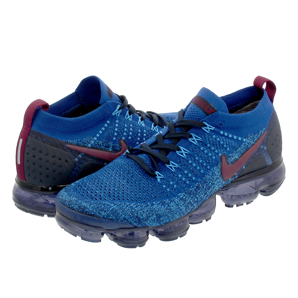 292bad36d69 NIKE AIR VAPORMAX FLYKNIT 2 Nike vapor max fried food knit 2 GYM BLUE BORDEAUX COLLEGE  NAVY BLUE GLOW 942