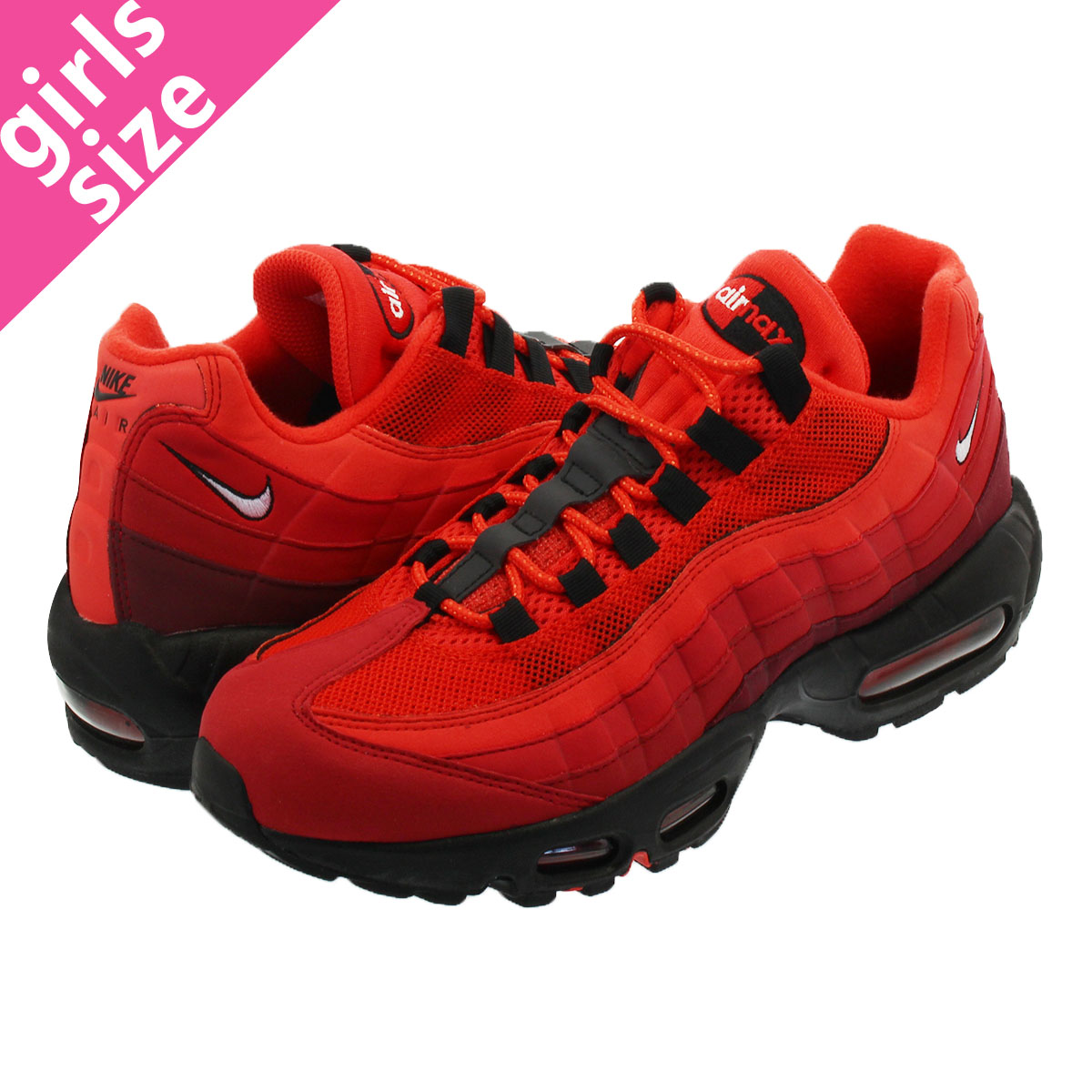 Women's Nike Air Max 95 October Red Black Girls Running