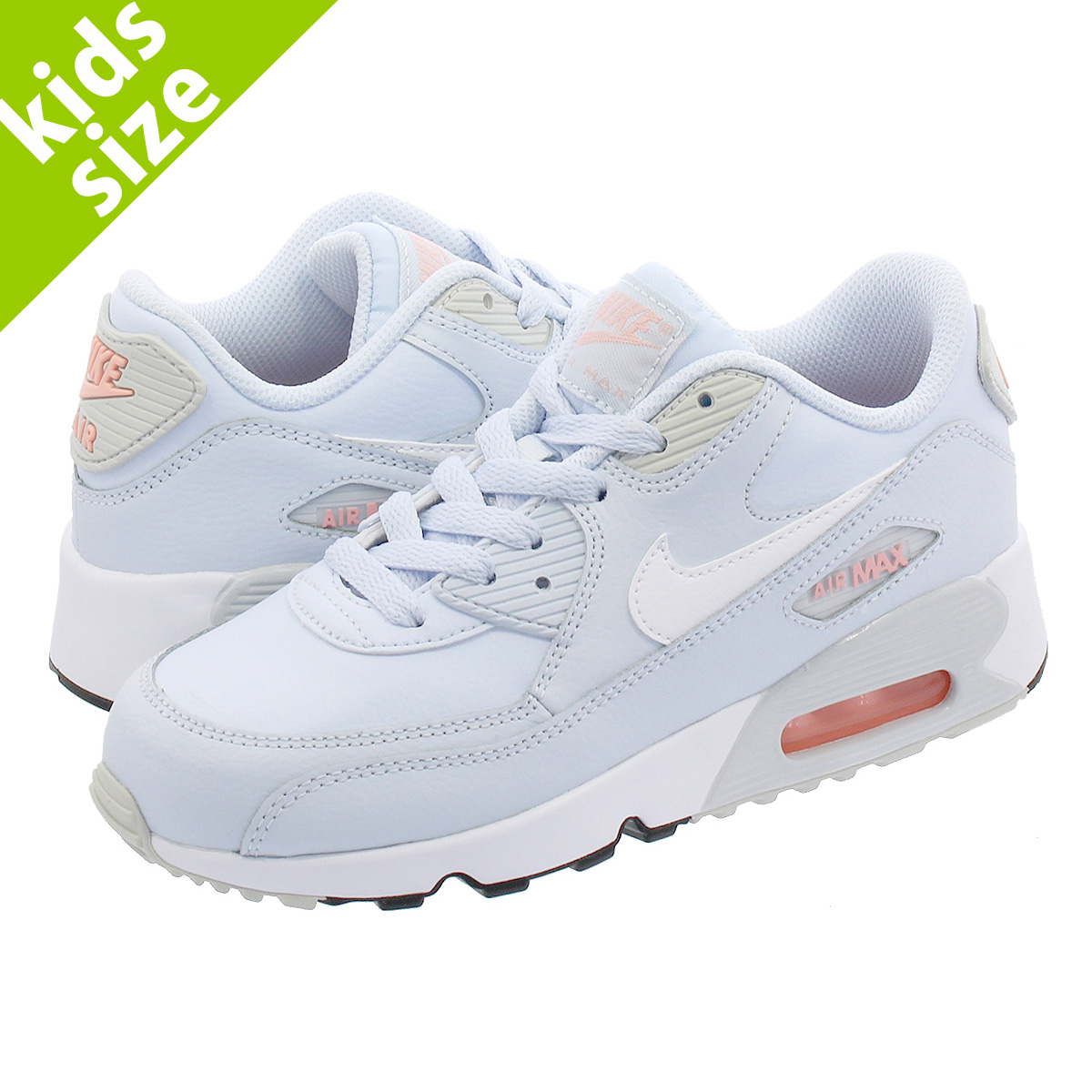 df1080e666 NIKE AIR MAX 90 LTR PS Kie Ney AMAX 90 leather PS HALF BLUE/PURE ...