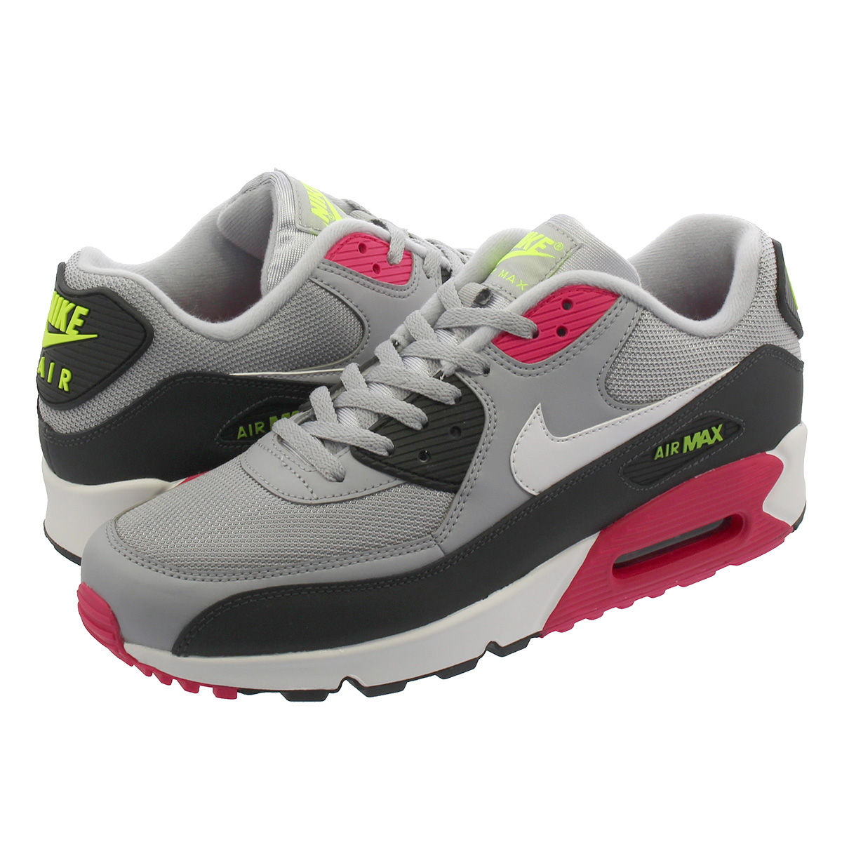 new product 6d30a 77cda NIKE AIR MAX 90 ESSENTIAL Kie Ney AMAX 90 essential WOLF GREY/WHITE/RUSH  PINK/VOLT aj1285-020