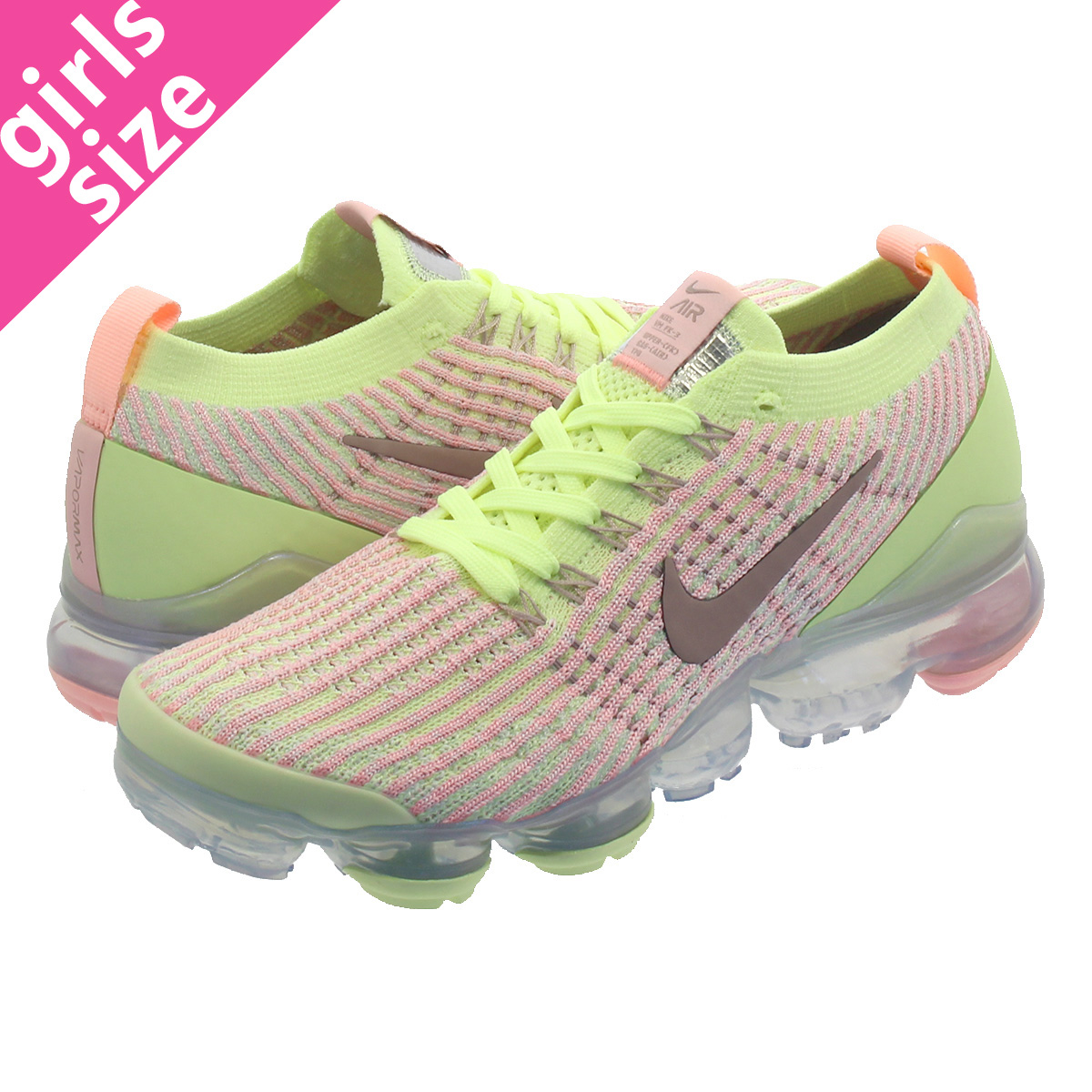 279f7bf38e6 NIKE WMNS AIR VAPORMAX FLYKNIT 3 Nike women vapor max fried food knit 3  BARELY VOLT ...