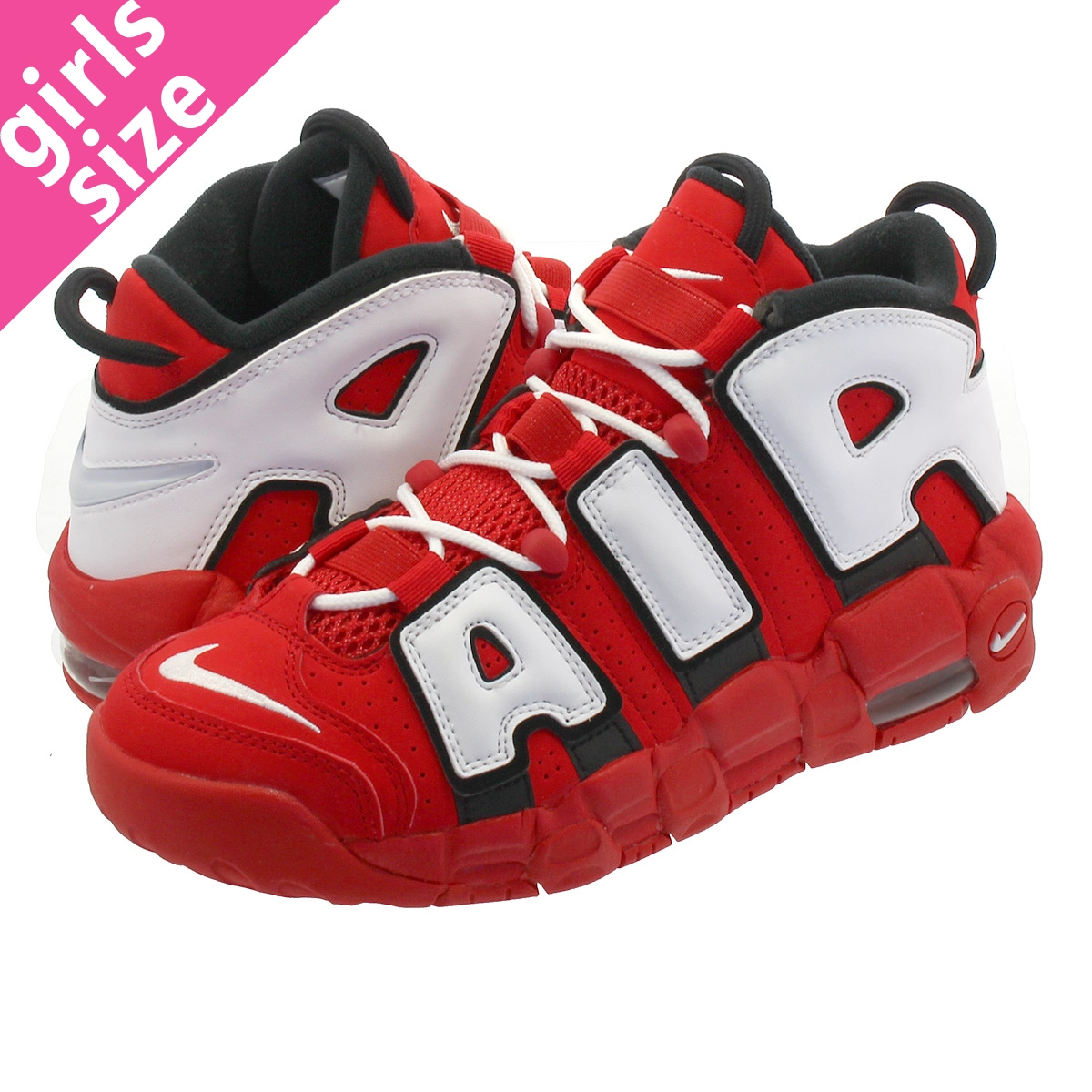 NIKE AIR MORE UPTEMPO GS Nike more up tempo GS UNIVERSITY REDWHITEBLACK cd9402 600