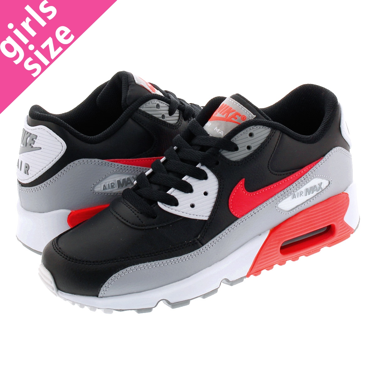 NIKE AIR MAX 90 LTR GS Kie Ney AMAX 90 leather GS WOLF GREYBRIGHT CRIMSONBLACK 833,412 024