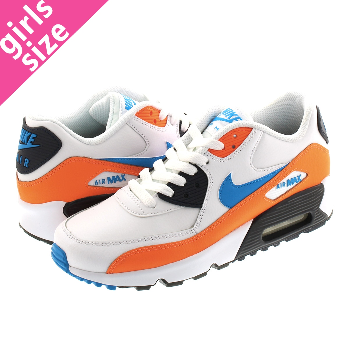 NIKE AIR MAX 90 LTR GS Kie Ney AMAX 90 leather GS WHITEPHOTO BLUETOTAL ORANGE 833,412 116