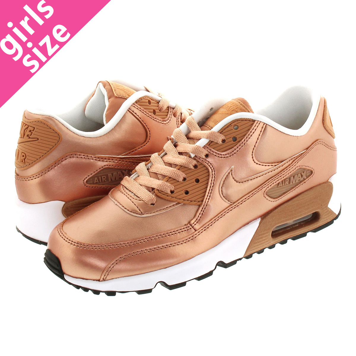 NIKE AIR MAX 90 SE LTR GS Kie Ney AMAX 90 SE leather GS METALLIC RED BRONZE 859,633 900