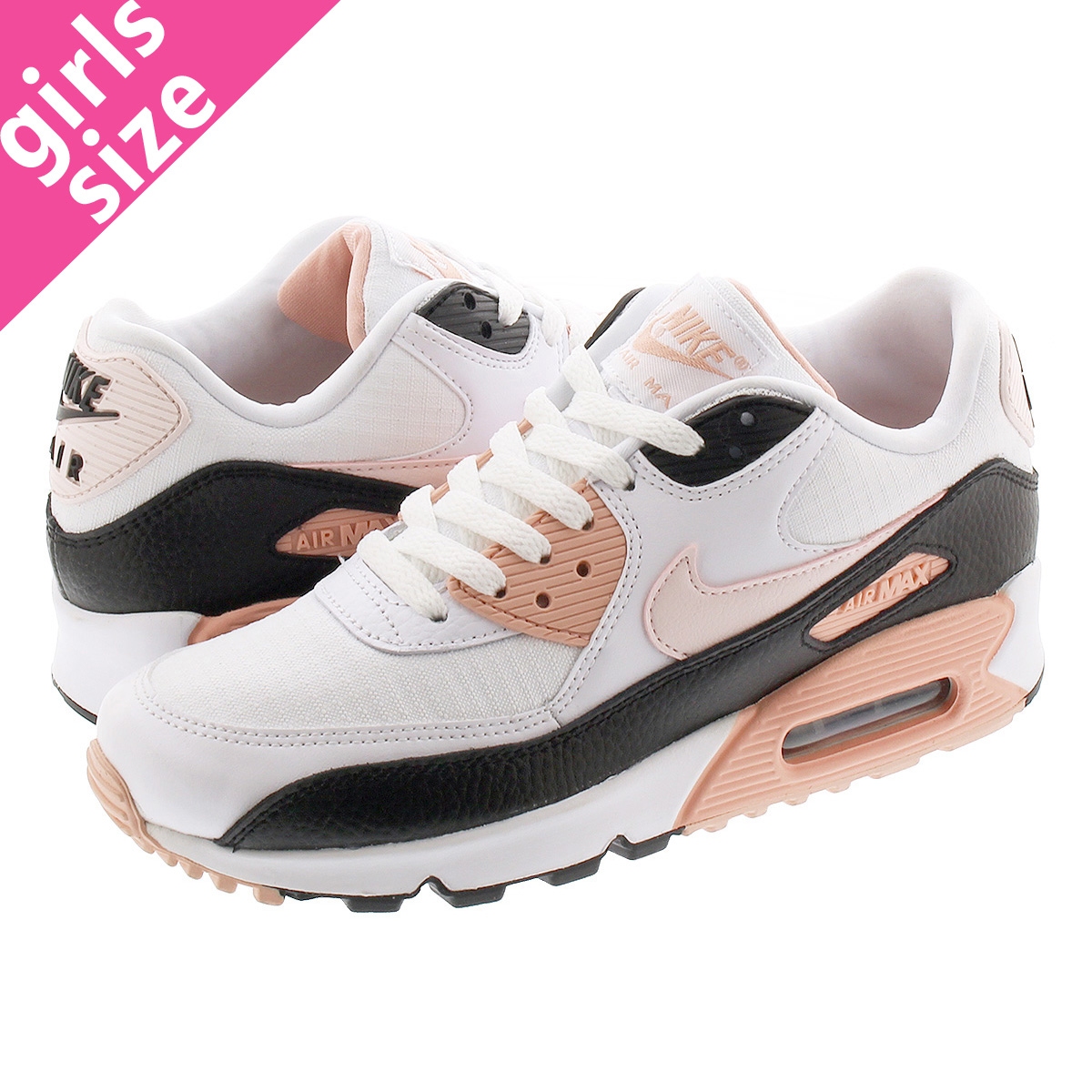 NIKE WMNS AIR MAX 90 Nike women Air Max 90 WHITELIGHT SOFT PINKBLACK 325,213 143