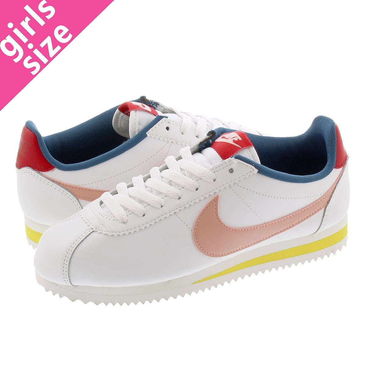 NIKE WMNS CLASSIC CORTEZ LEATHER SUMMIT WHITE/CORAL STARDUST